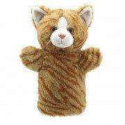 Marionnette à main enfant Chat tigré roux 25cm