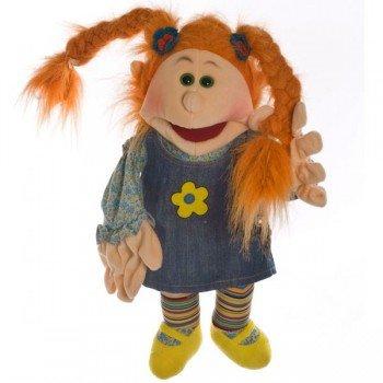 Marionnette personnage Tanni, fille avec 2 tresses, 45cm