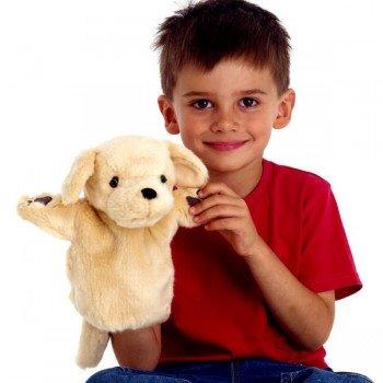 Marionnette enfant à main Chien Labrador beige 25cm
