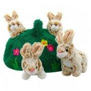 4 Marionettes doigts lapins dans une colline, 15cm