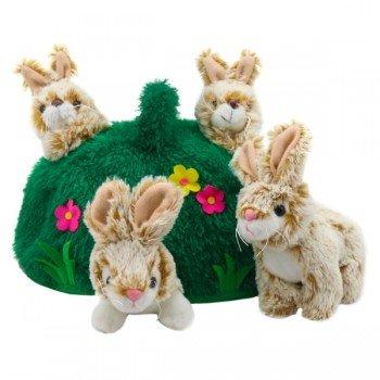 4 Marionnettes doigts lapins dans une colline, 15cm