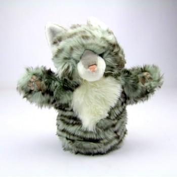 Marionnette enfant à main Chat rayé gris 25cm