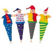 4 petites Marottes marionnettes personnages au bout d'un bâton, 17cm