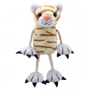 Marionnette à doigt chat roux à rayures 15 cm
