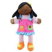 Marionnette Fille et sa robe rose 35 cm