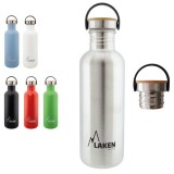 Gourde inox 1 litre, large goulot, bouchon inox et bambou