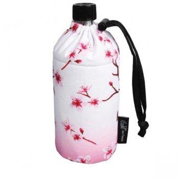 Gourde verre isotherme Fleurs blanches et roses 0.6 litre