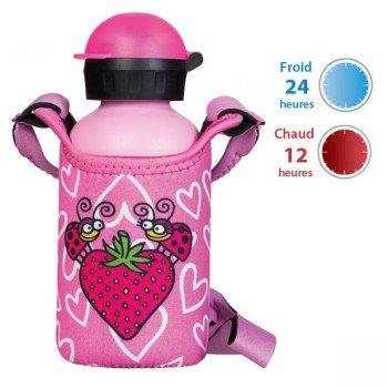 Gourde en inox isotherme Fraise rose avec housse néoprène 0.35 litre, Laken