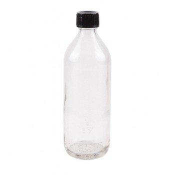 Bouteille en verre avec bouchon noir, 0.4 litre