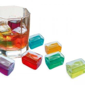 Glaçons en verre coloré, lot de 6