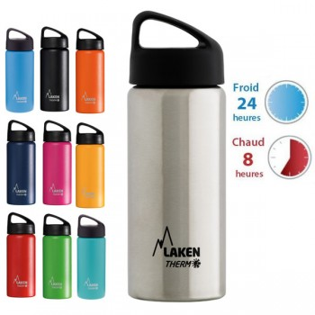 Gourde inox 50cl large goulot isotherme Laken