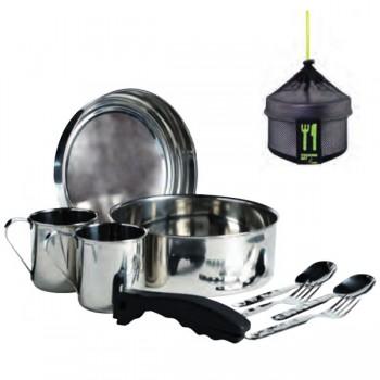 Kit de cuisine de camping en inox, 2 personnes, 20cm