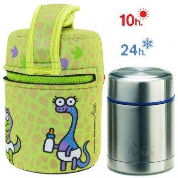 Lunch Box Isotherme inox et housse verte bébés dinosaures, 0,5L