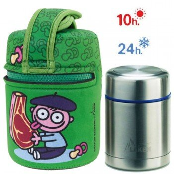 Lunch Box Isotherme inox et housse verte avec bébé Basque, 0,5L