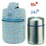 Lunch Box Isotherme inox et housse bleue avec petites souris, 0,5L