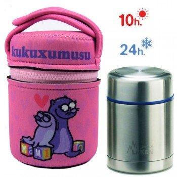 Lunch Box Isotherme inox et housse rose avec phoques, 0,5L