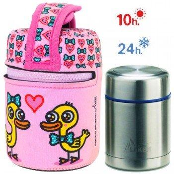 Lunch Box Isotherme inox et housse rose avec canards amoureux, 0,5L