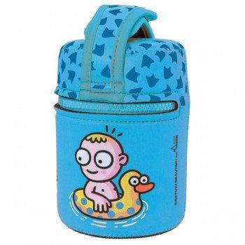 Lunch Box Isotherme inox et housse bleue avec baigneur et canards, 0,5L