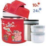 Lunch Box inox isotherme 1L, 2 compartiments housse rouge éléphant et singe