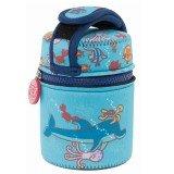 Lunch Box inox isotherme et housse protection bleue animaux aquatiques, 0,5L