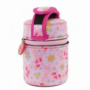 Lunch Box inox isotherme et housse protection rose avec fleurs et coeurs, 0,5L