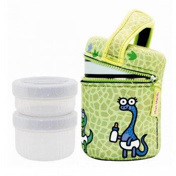 Lunch Box Isotherme inox et housse verte bébés dinosaures, 1L