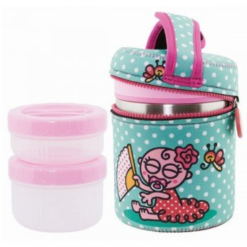 Lunch Box inox isotherme 1L, 2 compartiments housse turquoise Flamenco