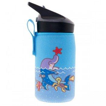 Gourde enfant avec housse bleu dauphin en Tritan, 0,45 litre, Laken