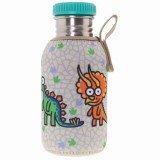 Gourde inox enfant avec housse beige bébés dinosaures et bouchon à visser, 0.5 litre, Laken