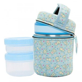 Lunch Box inox isotherme 1L, 2 compartiments housse bleue Oursons