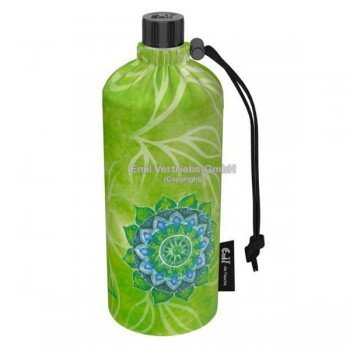 Gourde en verre isotherme Housse verte Esprit nature, 0.6 litre
