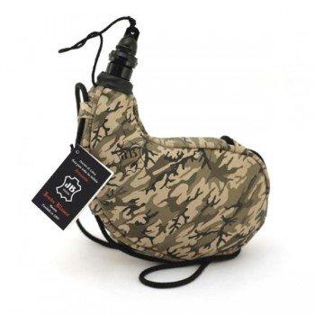 Gourde camouflage souple en peau, courbée, intérieur latex 1 litre