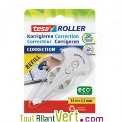 Recharge roller de correction recyclé, rechargeable, Eco-Logo