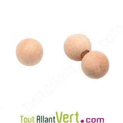 Aimant boule en bois naturel, lot de 3