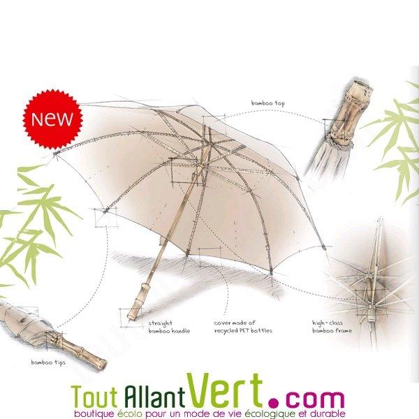 plus récent 8501a aeb6b Parapluie plastique recyclé, manche en bambou et bois achat ...