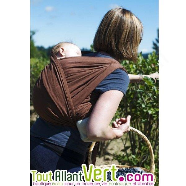 Echarpe portage marron en coton biologique porte-bébés colimacon cie 2342f1d0f89