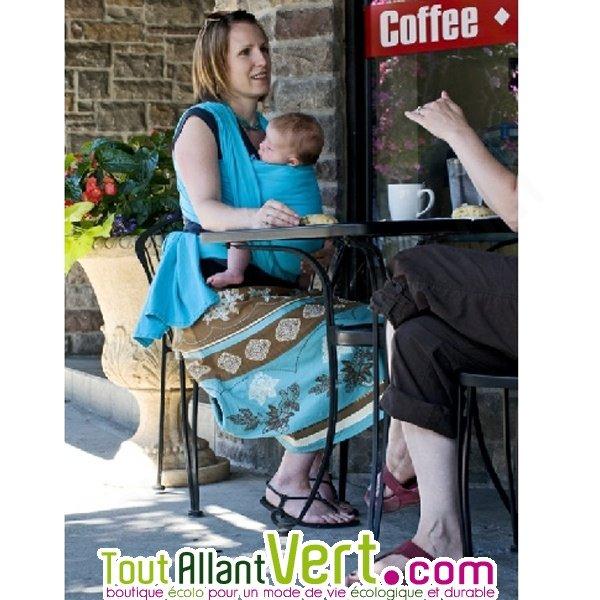 8dc46467cc0a Echarpe porte bébés de portage turquoise en coton biologique colimacon cie