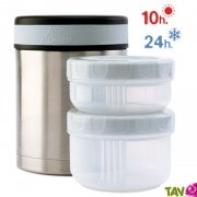Lunch-box isotherme inox 1 litre, 2 compartiments et housse