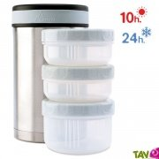 Lunch-box isotherme inox 1,5 litre, 3 compartiments et housse