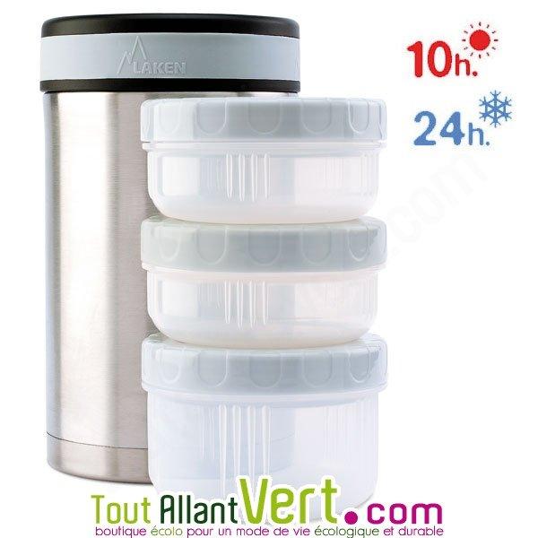 369809a99a349a Lunch-box isotherme inox 1,5 litre avec 3 compartiments + housse de Laken