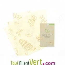 Lot de 3 emballages bio réutilisables Bee\'s wrap format moyen, 28x25.5 cm