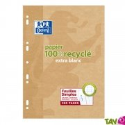 Feuilles simples recyclées Grand carreaux 90g, A4, lot de 100, Oxford