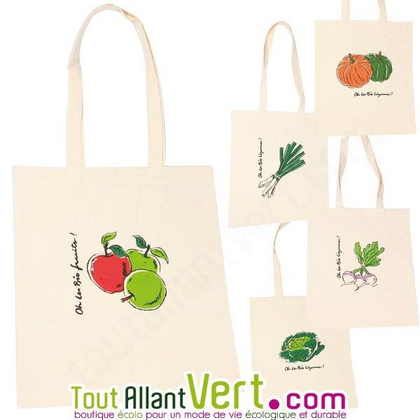 cbb1ceb5f51 Tote bags, sacs en coton bio imprimés fruits ou légumes, 5 modèles, Ah