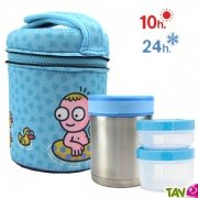 Lunch-box inox isotherme 2 compartiments et housse petits canards, 1 litre