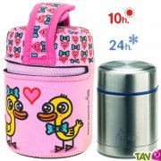 Lunch Box isotherme inox avec housse rose canards amoureux, 0,5L
