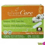Tampons hygiéniques coton bio, Super Plus, sans applicateur, lot de 15, Silvercare
