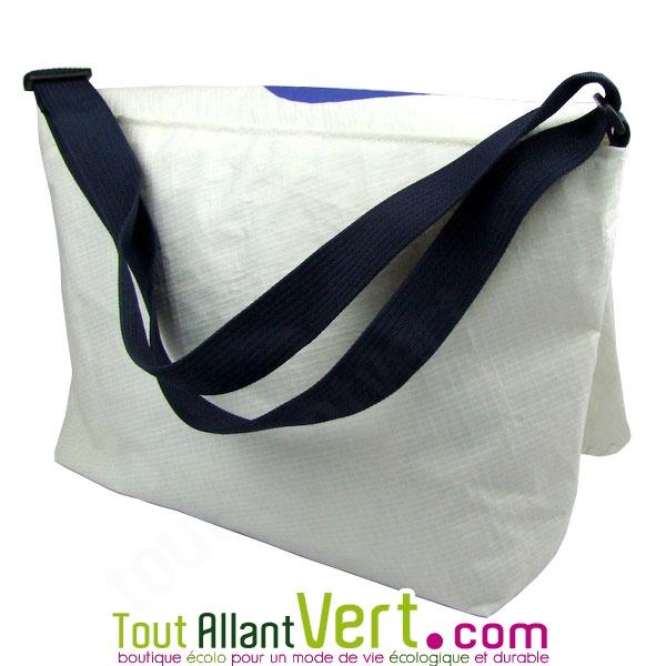 besace recyclé sac blanc et Grand bateau Bleu de 50 en cm voile fx75w5HnO