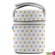 Lunch box isotherme inox avec housse de protection Pois, 0.5L